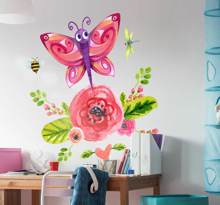 TenVinilo. Vinilo mariposa infantil. Pegatinas infantiles con una ilustración llena de vida y color de una mariposa en tonos violetas volando alrededor de una flor roja.