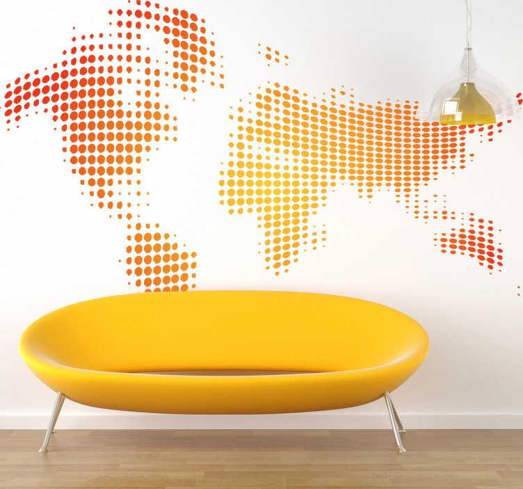 TenStickers. Sticker wereld gestippeld geel rood. Wereldkaart muursticker die gevormd wordt door gele en rode stippen. Verkrijgbaar in verschillende afmetingen. Snelle klantenservice.
