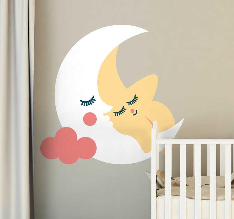 TenStickers. Naklejka na ścianę gwiazdka przytulona do księżyca. Naklejka dla dzieci, przedstawiająca ilustrację gwiazdki przytulonej do księżyca. Dzięki tej delikatnej naklejce, Twoje dziecko jeszcze bardziej pokocha swój pokój!