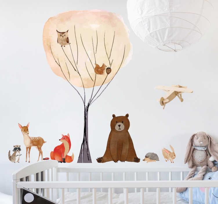 TenVinilo. Vinilos para pared infantiles animales. Colección de pegatinas de diferentes animales típicos del bosque como un oso, una liebre, un erizo, un zorro, un mapache, una ardilla y un búho.
