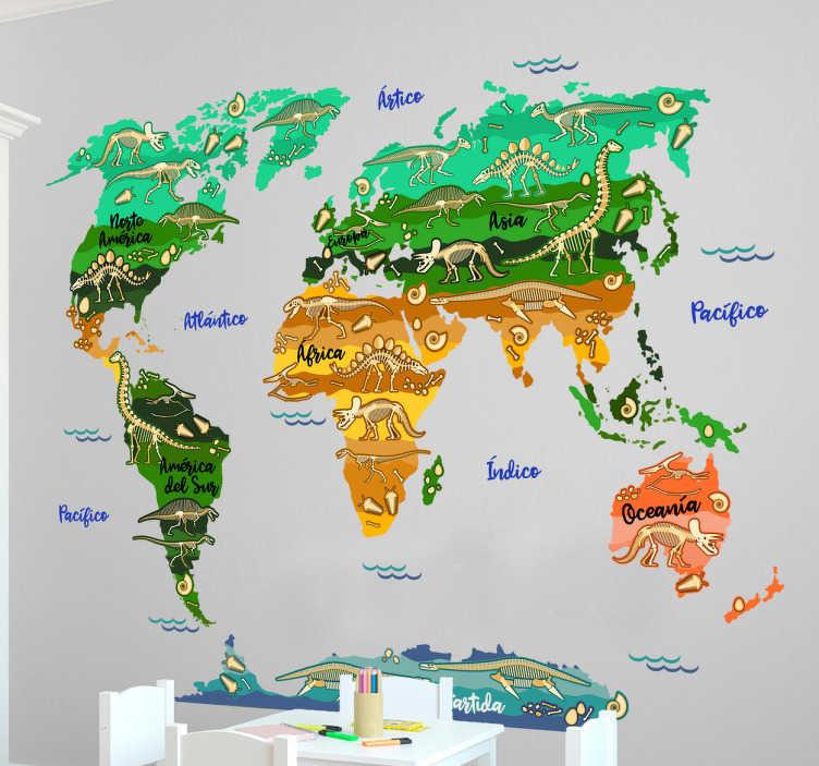 TenVinilo. Vinilos pared niños mapa dinosaurios. Mapamundi para niños, pequeños paleontólogos, amantes del mundo de los dinosaurios.