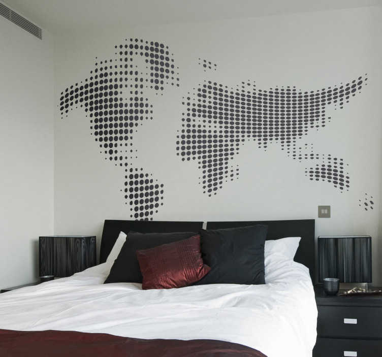 TenStickers. Waveform World Map Wall Sticker. Creative and modern world map with an abstract effect. A fantastic wall decal to decorate any room at home or work!