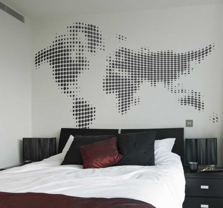 TenStickers. Sticker wereld gestippeld zwart. Voor de echte wereldreizigers! Een moderne versie van een wereldkaart!