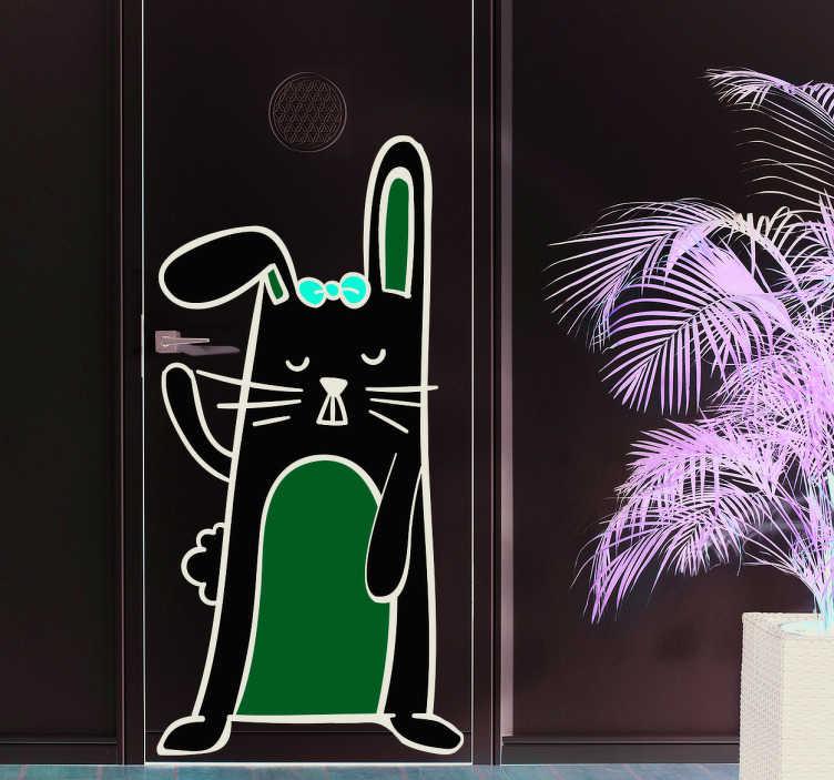 TenVinilo. Vinilo para puerta conejo. Pegatina habitación infantil con un conejo blanco y un lazo rojo bailando, que te dará la bienvenida a la habitación si lo aplicas en la puerta.