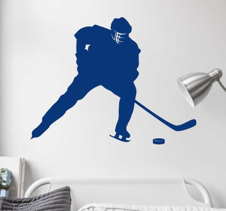 Tenstickers. Jääkiekkoilija sisustustarra siluetti. Jääkiekkoilija sisustustarra siluetti. Tyylikäs jääkiekkoaiheinen seinätarra, jossa on yksivärinen jääkiekon pelaajan siluetti.