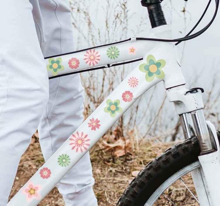 TenStickers. Fahrradaufkleber Blumen. Diese süßen Aufkleber sind perfekt dafür geeignet, um Ihr Fahrrad zu verschönern!