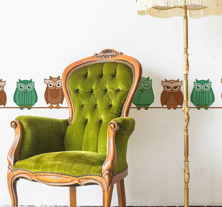 TenStickers. Sierrand sticker uilen kleuren. Decoreer de kamer en randen met deze leuke sticker met uilen. De muursticker bestaat uit verschillende uilen, bruin en groen gekleurd.