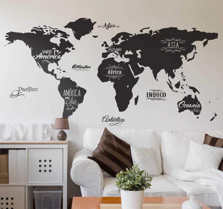 TenVinilo. Vinilo decorativo mapamundi vintage. Decora tu pared con vinilos mapa del mundo originales, con el perfil de los continentes y sus nombres, además de los océanos.