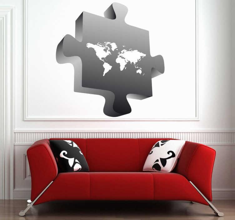 TenStickers. Sticker wereldkaart puzzle. Muursticker in de vorm val een puzzelstuk met hierop de wereldkaart afgebeeld. Originele wanddecoratie voor de versiering van de muren in uw huis.