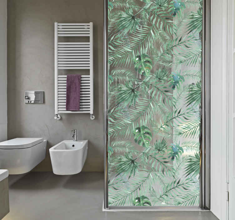TenStickers. Naklejka na prysznic egzotyczne liście. Naklejka na kabinę prysznicową, przedstawiająca delikatną strukturę tropikalnych liści. Wprowadź trochę egzotyki do Twojej łazienki z tą niezwykłą naklejką! Wysyłka 24/48h!