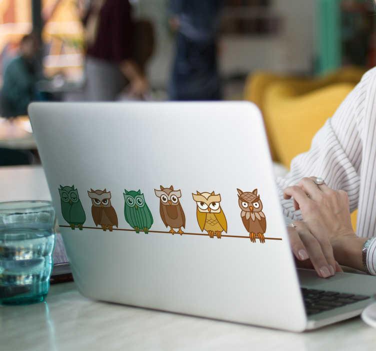 TenStickers. Naklejka sowy siedzące na gałęzi. Zabawna naklejka na laptopa, przedstawiająca kolorowe sowy, siedzące na gałęzi. Odmień swojego laptopa z ta wyjątkową naklejką! Produkt może być dostosowany do Twoich potrzeb!