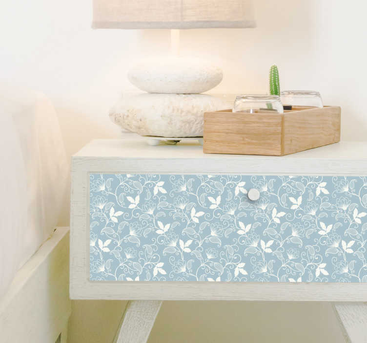 TenVinilo. Pieza de vinilo patrón vintage. Vinilos para muebles con un diseño floral muy elegante en tono azul grisáceo y dibujos en blanco.