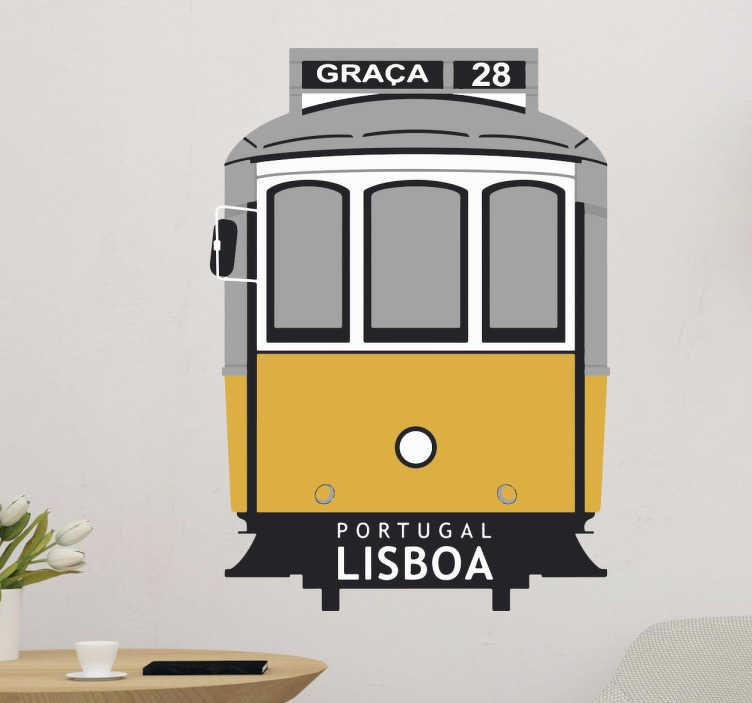 TenStickers. Autocolante elétrico de lisboa. Faz uma decoração às paredes que desejar com este autocolante decorativo ilustrando o carismático e famoso elétrico da Carris de Lisboa.