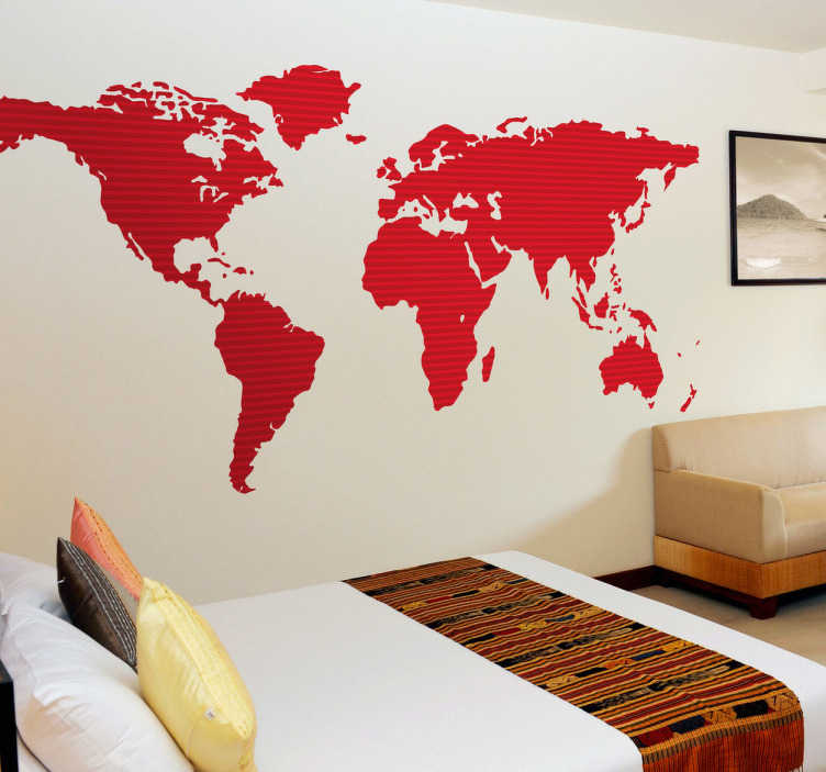 TenStickers. Red World Map Wall Sticker. A red world map wall sticker from our collection of red wall stickers. Make your bedroom wall the center of attention with this design. Do you like travelling? If yes, then this is the ideal decal to decorate your home. A stylish and sophisticated wall decoration.