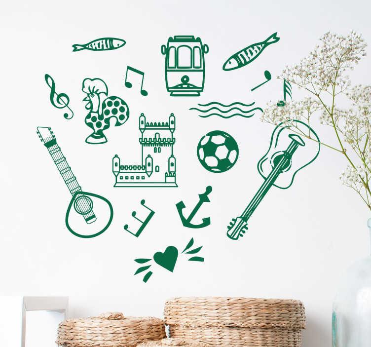 TenStickers. Autocolante decorativo simbolos portugueses. Mete a sua casa portuguesa com este autocolante decorativo com símbolos portugueses, tais como a bola de futebol, guitarra clássica e as sardinhas.