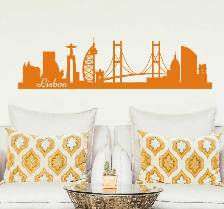 TenStickers. Autocolante de Lisboa Skyline. É um autocolante decorativo skyline ilustrando a encantadora cidade de Lisboa, que pudemos vislumbrar o cristo rei, a ponte 25 de abril, entre outras.