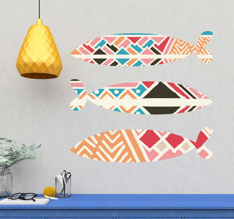 TenStickers. Autocolante decorativo sardinhas. Decora as paredes da tua casa com as famosas sardinhas que tanto adoramos comer, em formato de um autocolante decorativo.