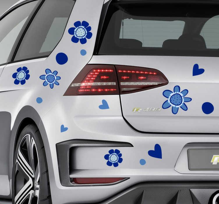 TenVinilo. Vinilo flores para coche. Colección de pegatinas con dibujos de corazones y margaritas en tonos azules, ideal para decorar tu vehículo.