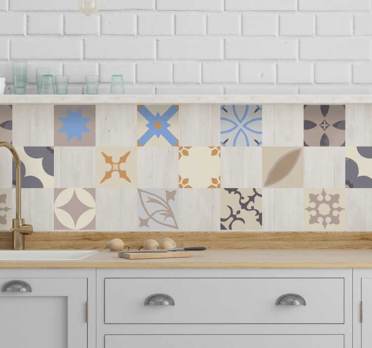 TenStickers. Hydraulic tile  tile transfer decal. Buy our collection design of hydraulic tile vinyl sticker to decorate the tile space in a kitchen or bathroom . It is available in any size you want.