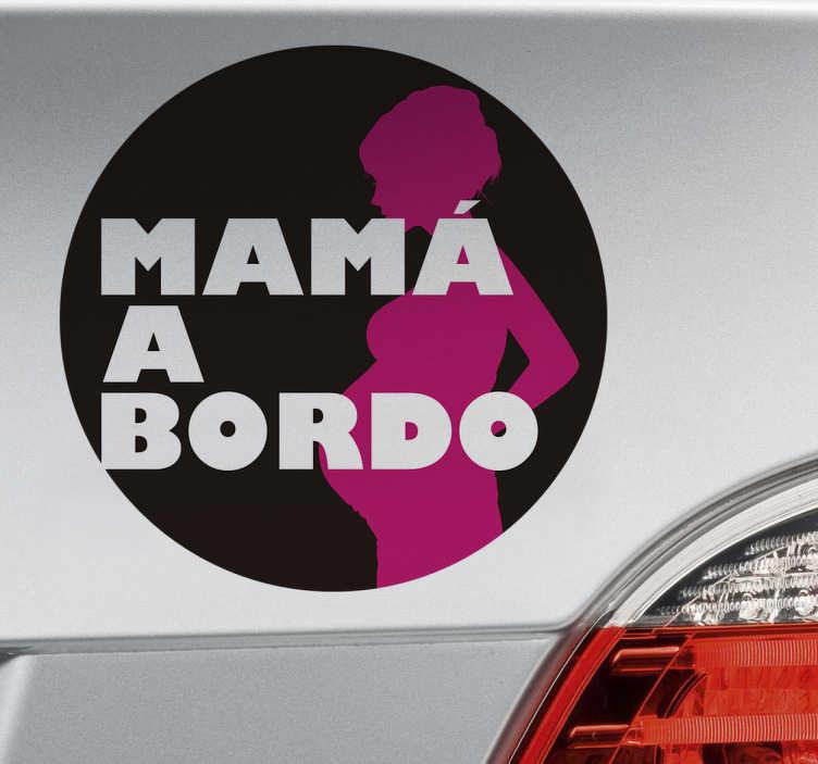 TenVinilo. Pegatina mamá a bordo. Adhesivos para coche con un diseño original con el que indicarás que en el vehículo viaja una madre.