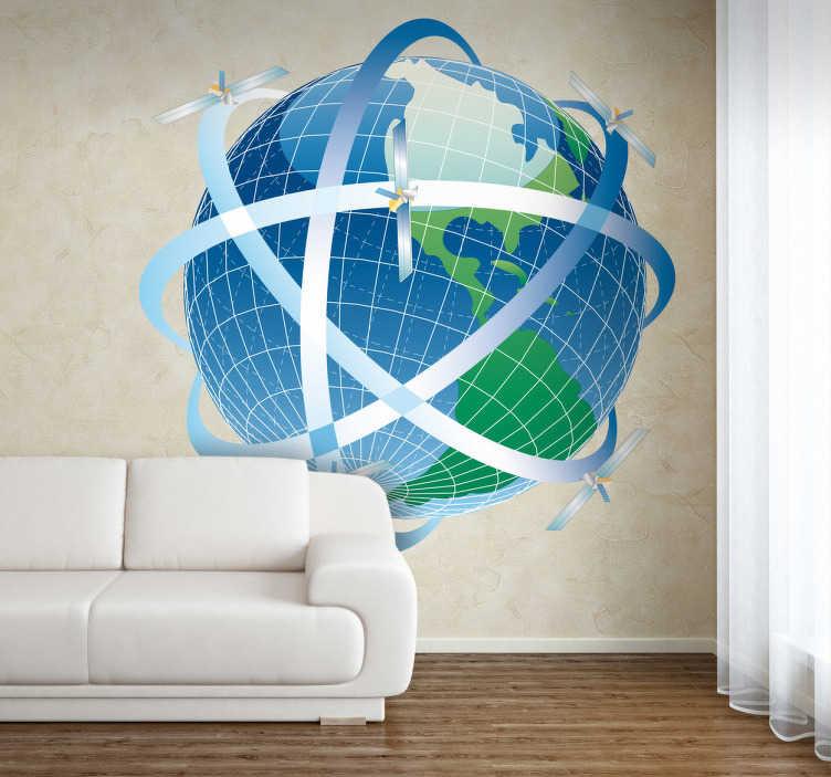 TenStickers. Globe satellites living room wall decor. Stále existující technologie přináší s sebou mnoho výhod: dává našemu světu a lidem, kteří na něm žijí, možnost vždy být spojeni. Tento úžasný štítek s uměním zdi na světě zdůrazňuje tuto okolnost.