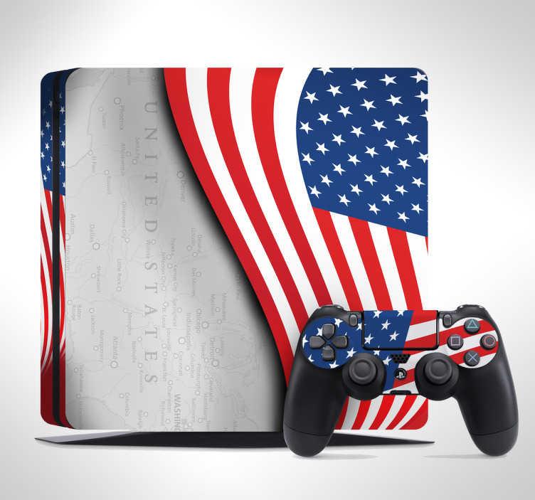 TenStickers. PS4 Playstation Aufkleber Skin USA Karte. Dieser PS4 Flaggen Sticker mit Controller Aufkleber macht Ihre Spielkonsole unverkennbar dem Spaß am Spielen gebührend. Blasenfreie Anbringung