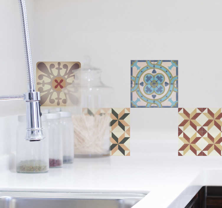 TenVinilo. Cenefa decorativa mosaico hidráulico varios. Vinilos para baldosas de cocina con una recreación de dibujos geométricos de estilo retro ideales para redecorar también tu baño.
