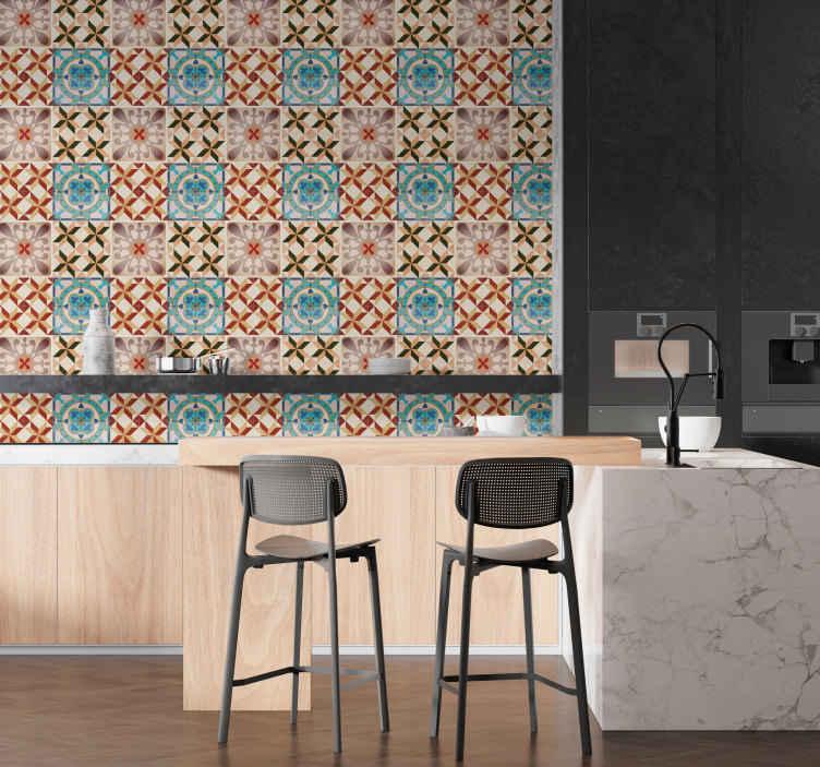 TENSTICKERS. 壁タイル接着剤の油圧パターン. このエレガントでオリジナルの壁のデカールでキッチンやベッドルームの空きスペースを飾る。この接着剤は、異なるタイル上の異なる油圧設計からなる。