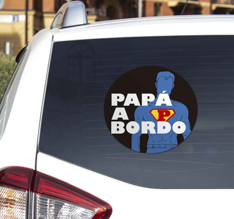 TenStickers. Dad on board baby in car sticker. Daddy on board car sticker to flag on a vehicle surface to signal to road users that their is a father or a man in a vehicle.