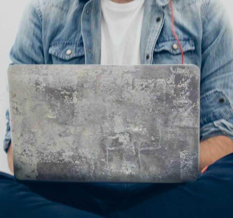 TenVinilo. Vinilo imitación piedra rústica. Pegatinas para portátil con una textura de pared de piedra u hormigón para darle un aspecto moderno y urbano a tu ordenador.