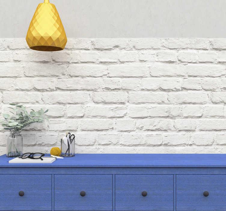 TenStickers. Witte baksteen muursticker. Decoreer je muren en wanden met deze decoratie sticker. De muursticker bestaat uit een witte bakstenen rand die te plaatsen is op alle vlakke ondergronden.