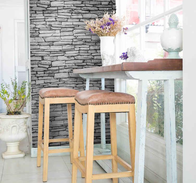 TenVinilo. Vinilo ladrillo piedra. Decora tu casa con papel pintado adhesivo con el que podrás crear la sensación de que tus muros son de obra vista con una textura de ladrillos.