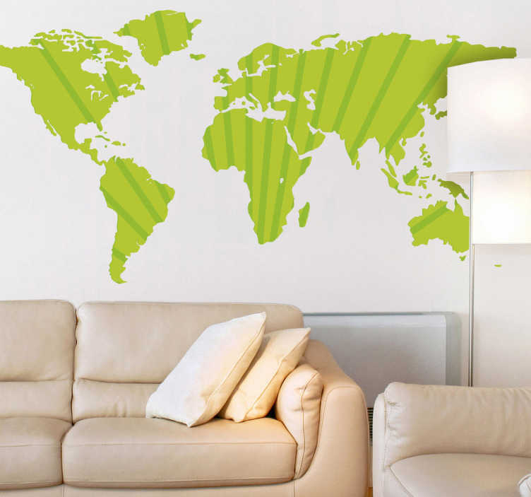TenStickers. Sticker wereld kaart strepen. Een wereldsticker vormgegeven in een grote kaart met verticale lijnen. Verkrijgbaar in verschillende kleuren en maten. Voordelig personaliseren.