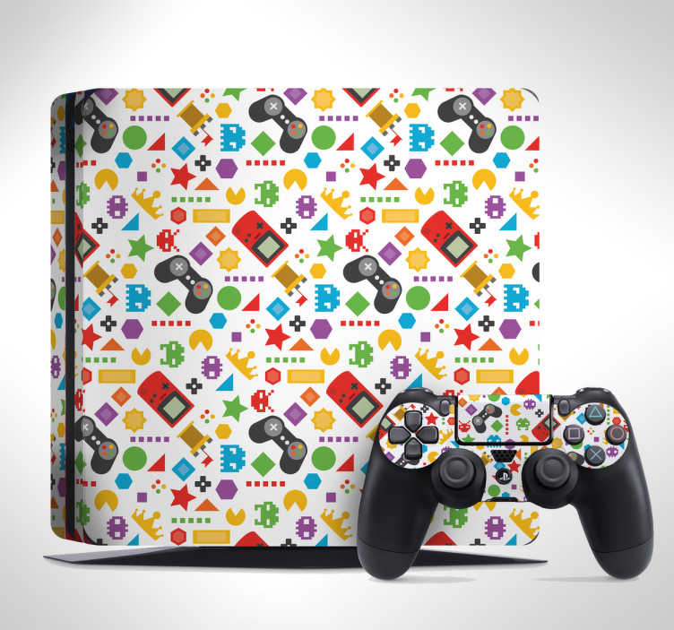 TenStickers. Gaming Assortment PS4 Skin Sticker. Decorate your PS4 with some classic gaming references and this PS4 skin sticker! Discounts available.