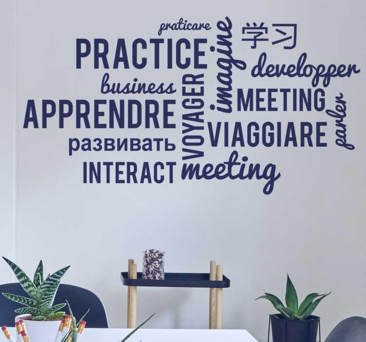 TenStickers. Autocolante de parede academia de línguas. Decore as paredes do teu gabinete ou da tua empresa com este vinil parede para dar outra cor e outra decoração a ela, e assim ensinar outras línguas ao staff.