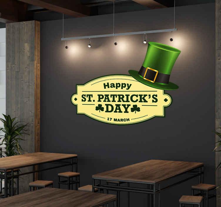 TenVinilo. Vinilo para bar Saint Patrick's. Vinilos para bares y pubs que celebren especialmente el día del patrón de Irlanda: San Patricio.