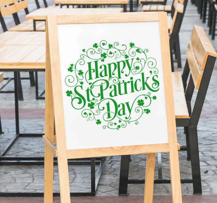 TenVinilo. Vinilo para bar San patricio. Vinilos Saint Patrick's ideales para pubs y bares que vayan a celebrar el próximo marzo esta festividad del patrón de Irlanda.