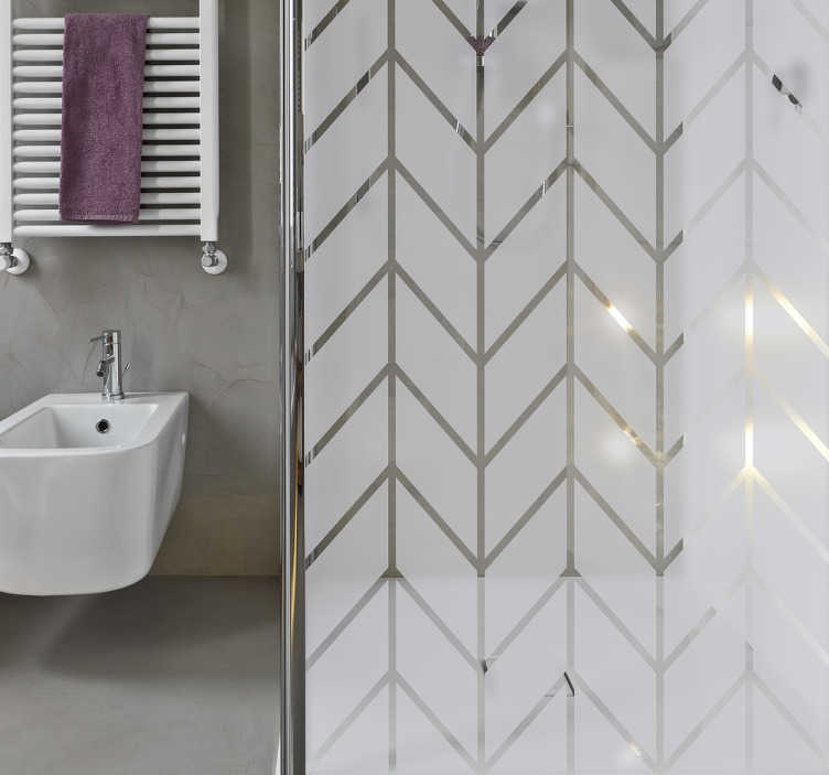 TenStickers. Geometric Shower Sticker. Elegant shower sticker with a geometric pattern to decorate the bathroom while maintaining privacy through the screen. The geometric bathroom decal can also be applied on windows or glass doors.