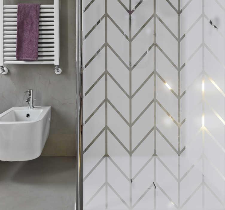 TenStickers. Nalepka z geometrycznym prysznicem. Elegancka naklejka prysznicowa z geometrycznym wzorem do ozdobienia łazienki przy zachowaniu prywatności przez ekran. Geometryczna nalepka do łazienki może być również nakładana na okna lub szklane drzwi.
