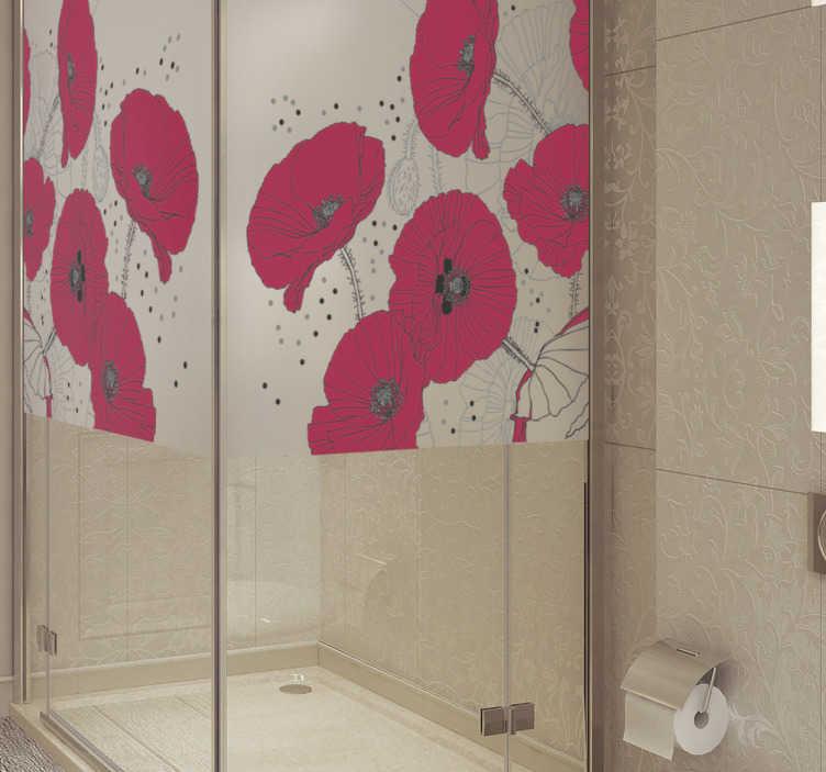 TenStickers. Vinil para cabine de duche translúcido de flores. Nada melhor que ter toda a casa decorada e com este vinil para cabine de duche com imagens translúcidas de flores de tom avermelhado.