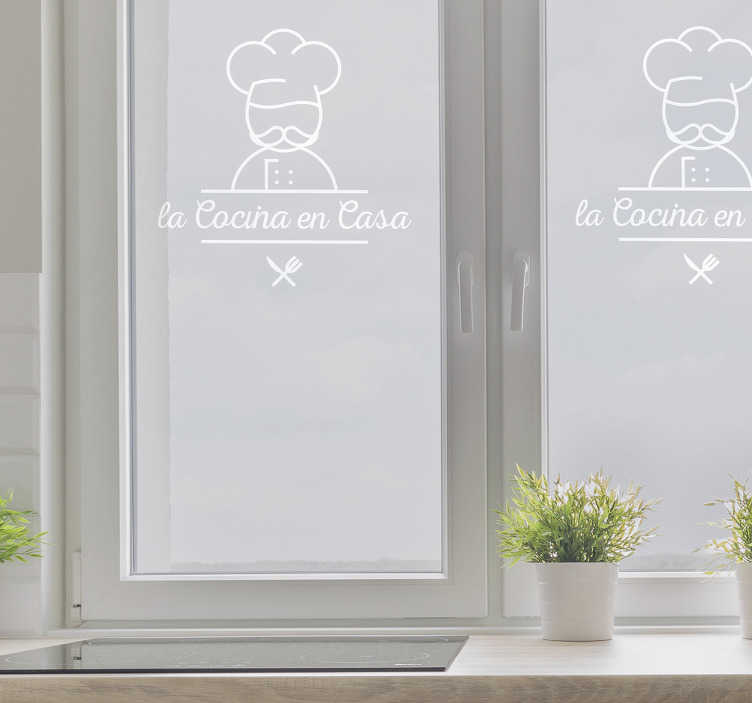 TenStickers. Ornamental wall decal. Restaurant vinyl sticker to decorate a glass door or window of a restaurant space. It is easy to apply and available in  different colours and size.