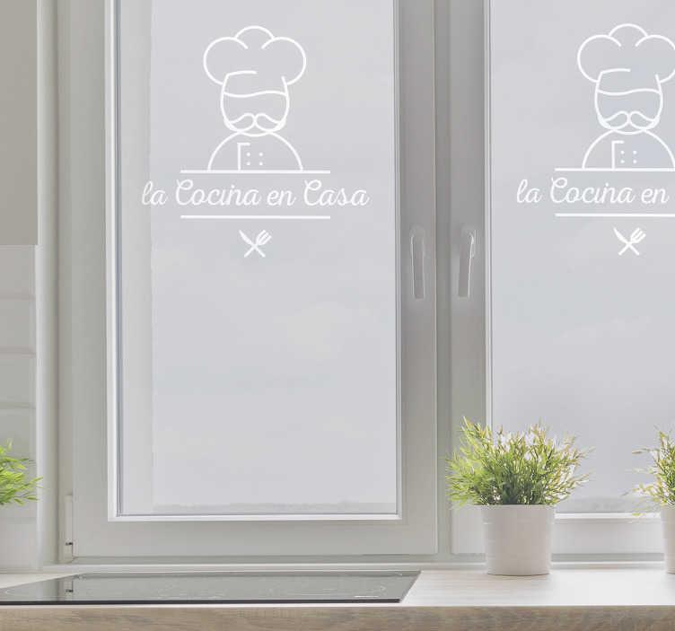 TenVinilo. Vinilo para ventana de cocina ornamental. Decora las ventanas de tu cocina o la puerta de entrada de cristal de la misma con vinilos decorativos originales.