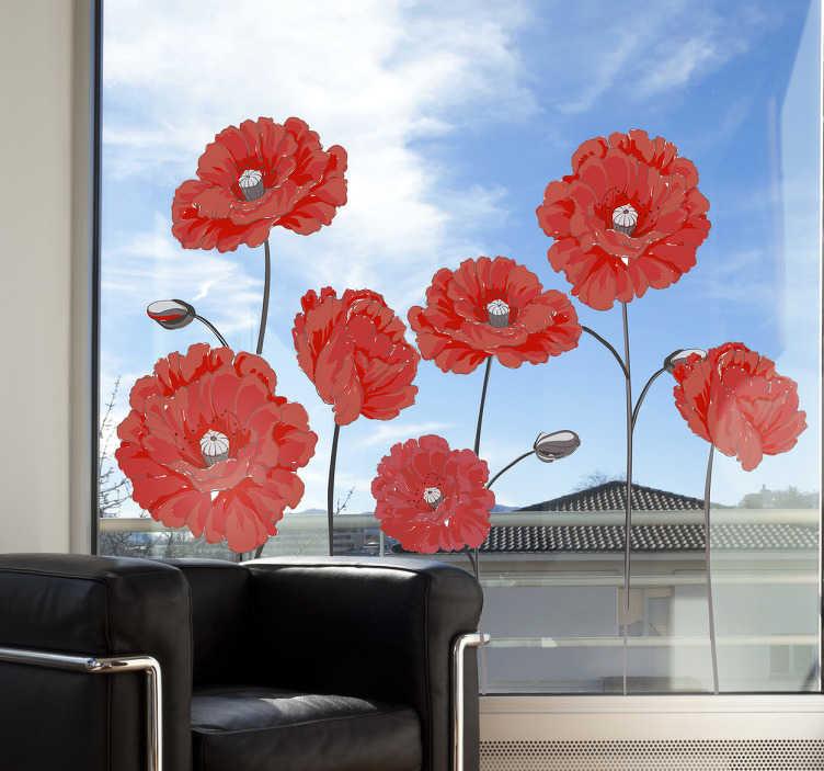 TenVinilo. Vinilo para ventana flores coloridas. Vinilos para cristales y ventanas con una ilustración de varias flores rojas, ideal para darle vida y color a cualquier estancia de tu casa.