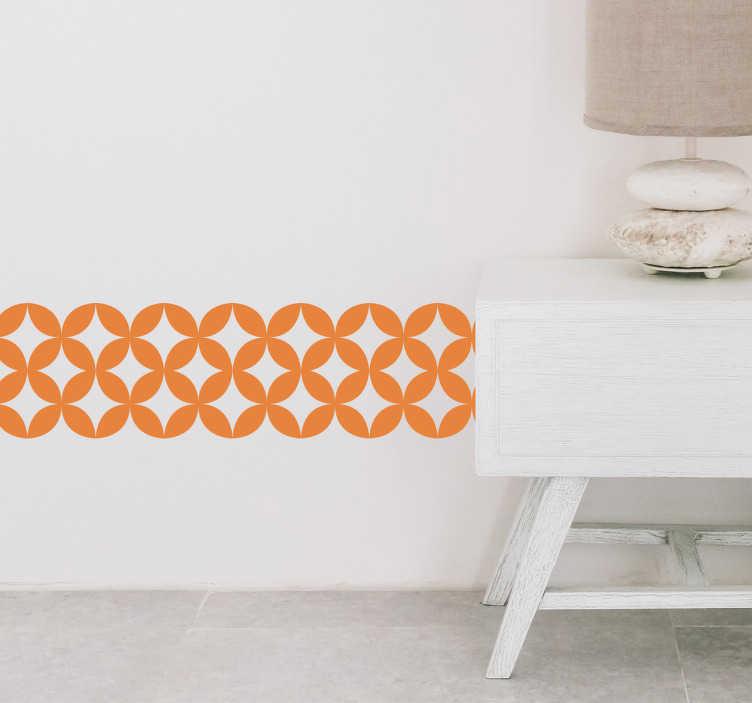 TenVinilo. Cenefa adhesiva azulejo geométrico retro. Original cenefa adhesiva personalizable para salón o dormitorio formada por unos azulejos geométricos de estilo retro. Envío Express en 24/48h.