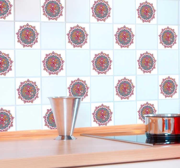 TenStickers. Fliesenaufkleber Mandala. Schöne Fliesenaufkleber mit buntem Mandala. Tolle und günstige Dekorationisdee für die Küche oder das Bad.