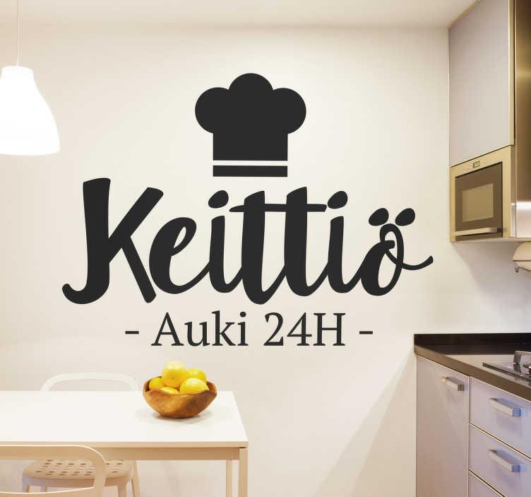 """Tenstickers. Sisustustarra keittiö auki 24h. Sisustustarra keittiö auki 24h. Hauska keittiön seinätarra, jossa on teksti """"Keittiö auki 24h"""" ja kokinhattu."""