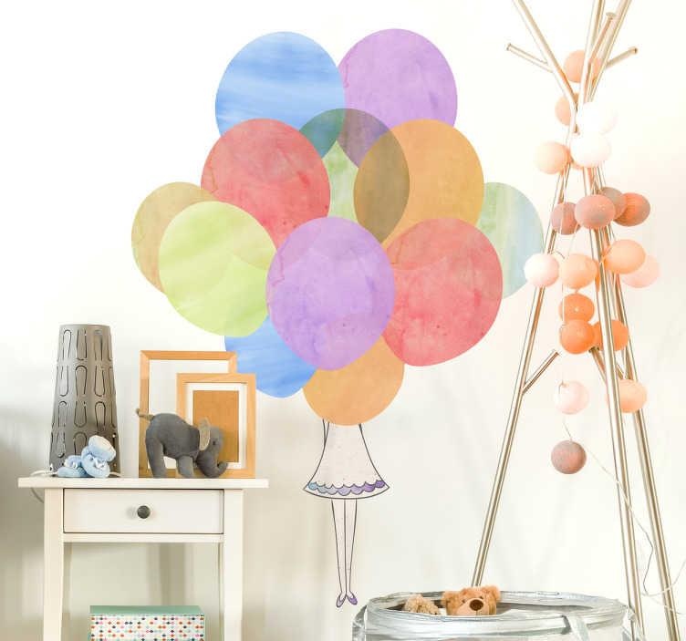 TenStickers. Sticker enfant derrière des ballons. Sticker enfant représentant une petite fille derrière un grand nombre de ballons. Vous pourrez choisir les dimensions de votre sticker, pour que votre sticker s'adapte parfaitement à vos besoins ainsi qu'à votre décoration déjà présente. Un sticker original et coloré très poétique!