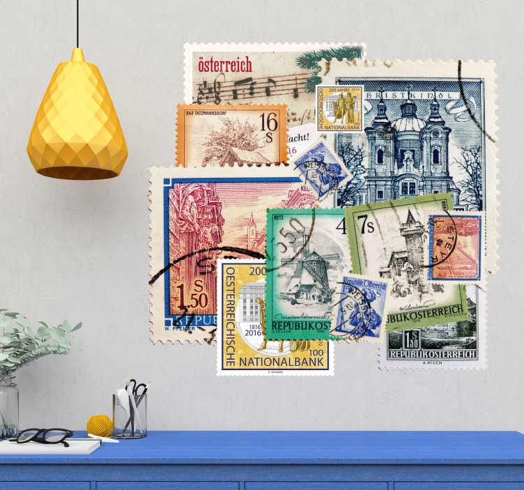 TenStickers. Sticker collage timbres. Sticker mural représentant de nombreux timbres autrichiens collés les uns sur les autres. Un autocollant voyage qui apportera beaucoup d'originalité et de couleurs à votre intérieur. Si vous aimez voyager et découvrir le monde alors ce sticker est fait pour vous!