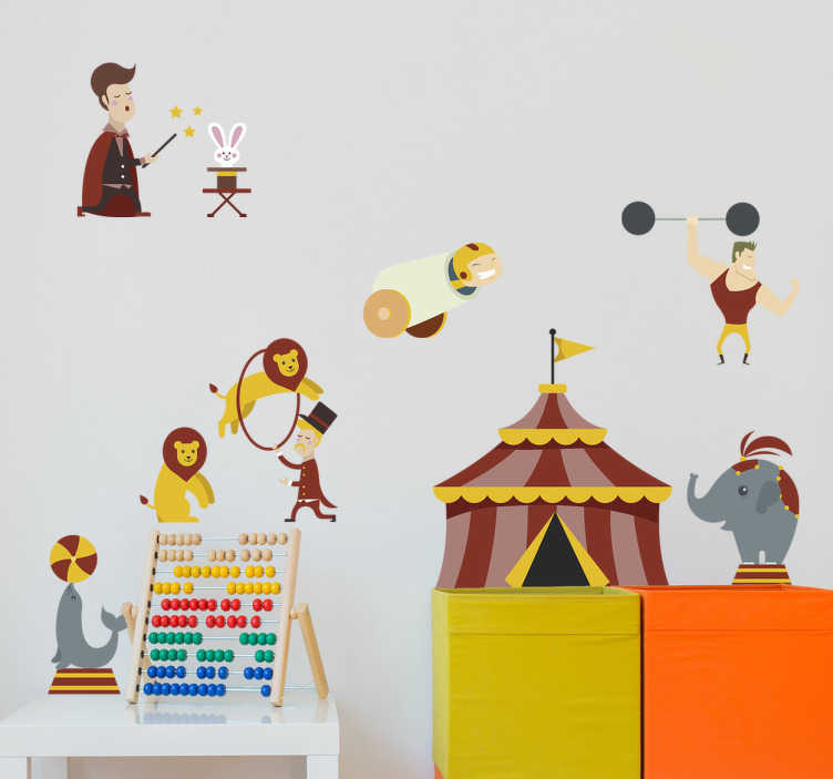 TenStickers. Naklejka na ścianę dla dzieci cyrk zwierzęta. Naklejka na ścianę ilustracje przedstawia cyrk, a dokładniej zwierzęta takie jak foka z piłką, lew skaczący przez obręcz,słoń.