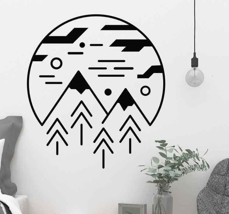 TenStickers. Wandtattoo minimalistische Alpen. Cooles Wandtattoo im minimalistischen Design mit Bergen und einem Landschaftsmotiv. Tolle Dekorationsidee für das Wohnzimmer.